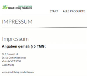Good Living Products Impressum